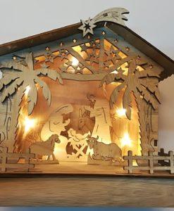 capanna legno naturale con luci 20cm