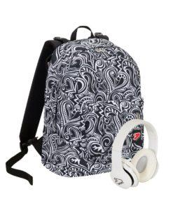 zaino seven con le cuffie doppia fantasia backpack maze girl bianco e nero