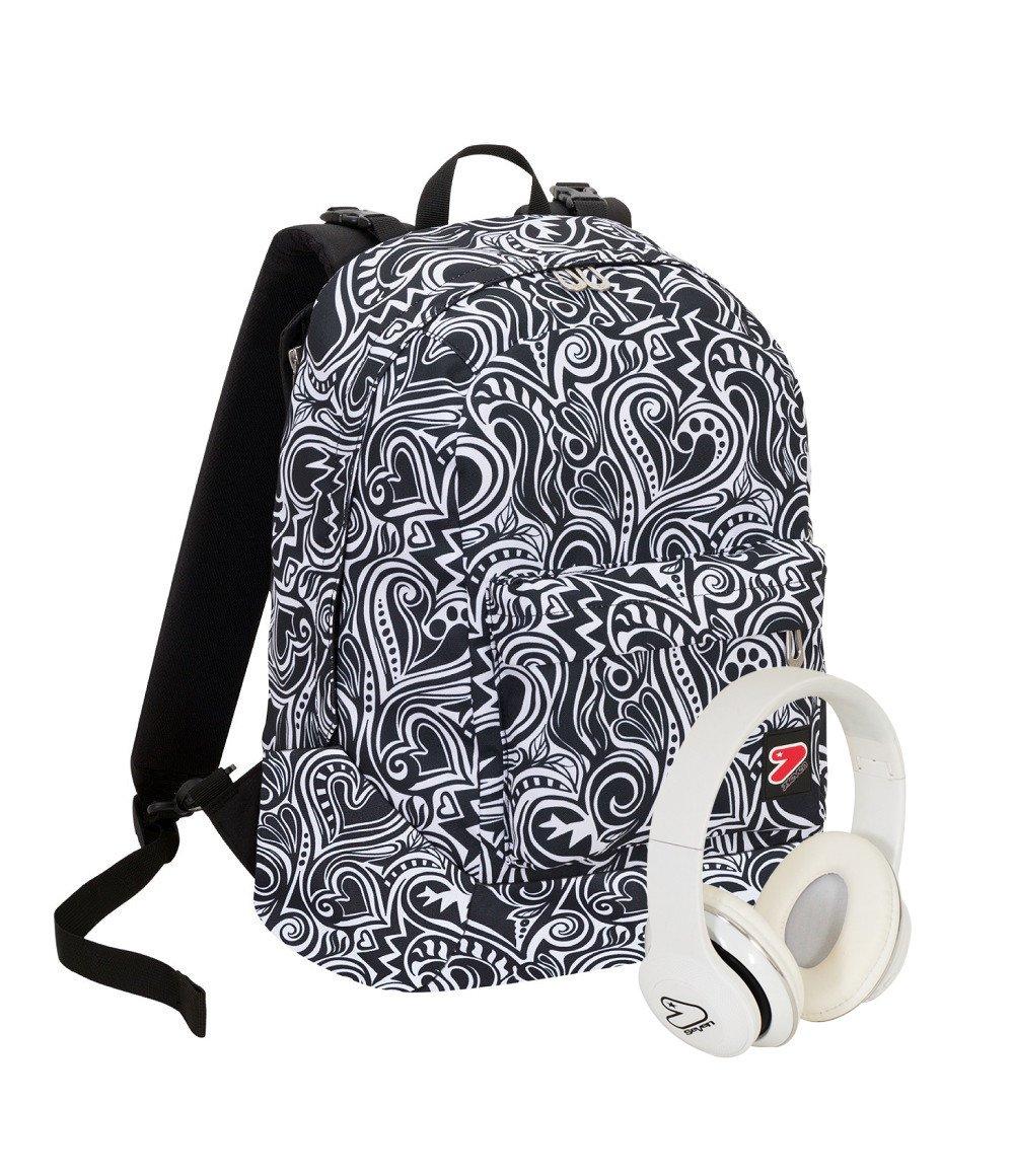 5350e6b0f3 zaino seven con le cuffie doppia fantasia backpack maze girl bianco e nero